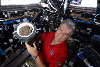 Paolo showing the camera setup for the eclipse. Credits: ESA/NASA