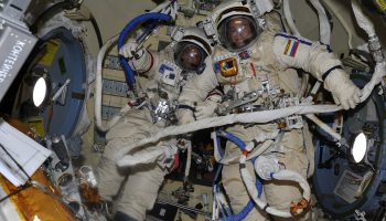 Sergei and Fyodor in their Orlan spacesuits. Credits: Roscosmos