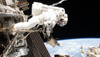 NASA astronaut Mark Vande Hei during his spacewalk 10 October. Credits: NASA
