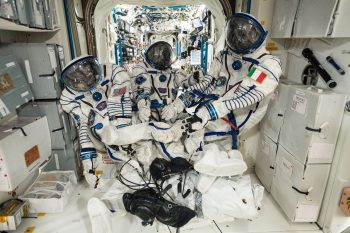 The Sokol suits our trio will wear. Credits: ESA/NASA
