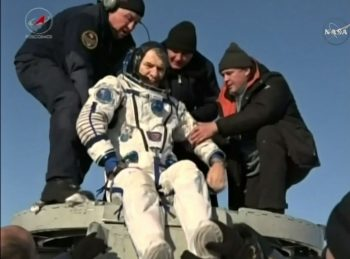 Paolo getting out of the Soyuz. Credits: NASA TV