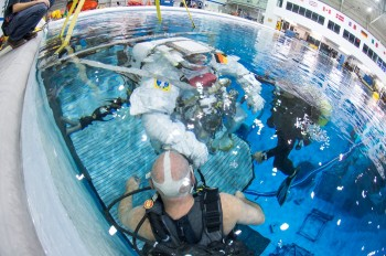 Underwater spacewalk training. Credits: NASA