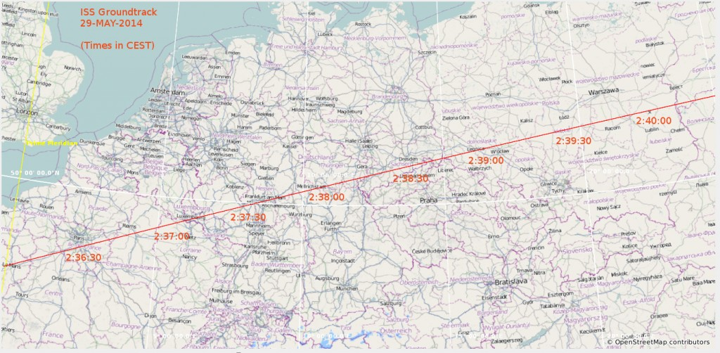 Space Station path projected over Europe
