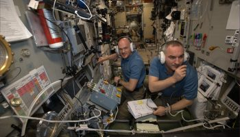 Alexander and Sasha after ATV-5 docking. Credits: ESA/NASA