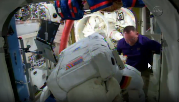 Installing SAFER on Alexander Gerst. Credits: NASA