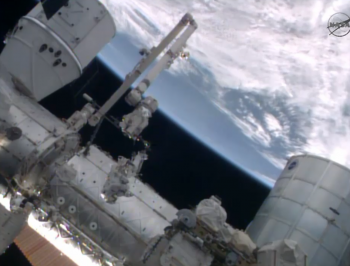 Alexander Gerst  moving on Canadarm. Credits: NASA