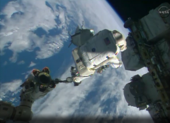 Leaving Canadarm behind. Credits: NASA