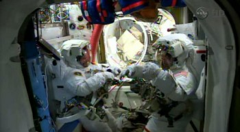 Preparing for spacewalk. Credits: NASA