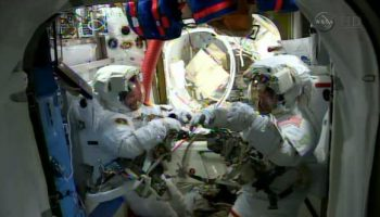 Preparing for spacewalk. Credits: NASA