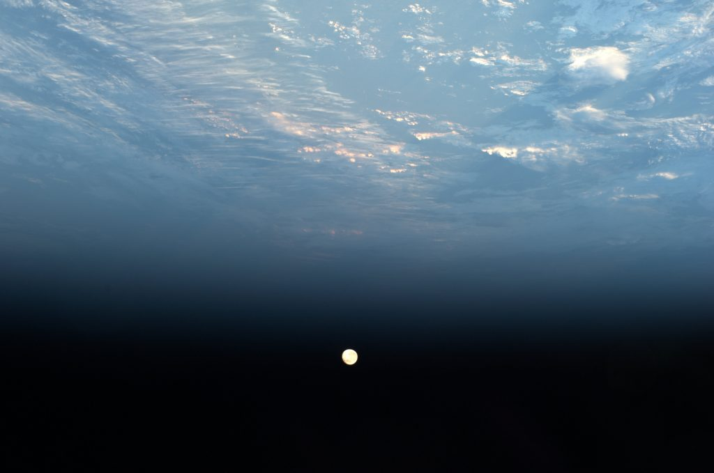 Moonset seen from International Space Station. Credits: ESA/NASA–Alexander Gerst