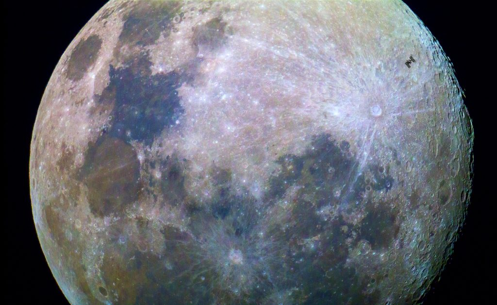 International Space Station passes Moon. Credits: Public domain–Dylan O'Donnell