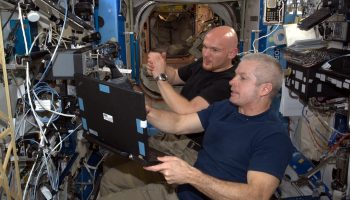 Alexander Gerst and Steve Swanson training with the Space Station's robotic arm during their mission in 2014. Credits: ESA/NASA