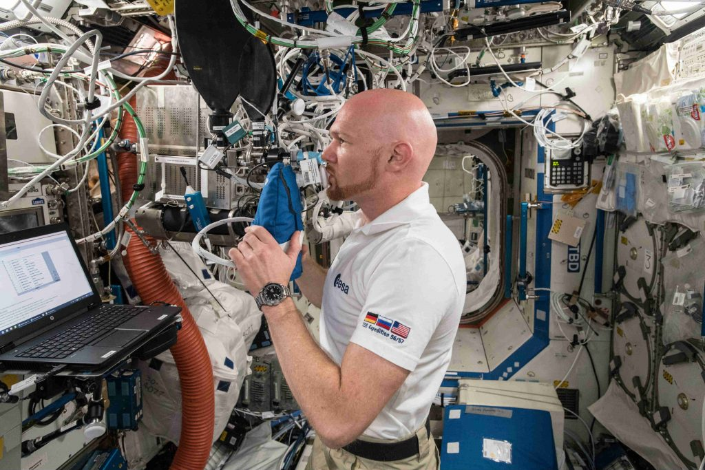 ESA astronaut Alexander Gerst participates in the Airways Monitoring experiment aboard the International Space Station. Credit: A. Gerst, ESA