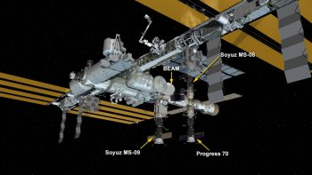International Space Station Configuration as of Aug. 22, 2018: Three spaceships are docked at the space station including the Progress 70 resupply ship and the Soyuz MS-08 and MS-09 crew ships. Credit: NASA.