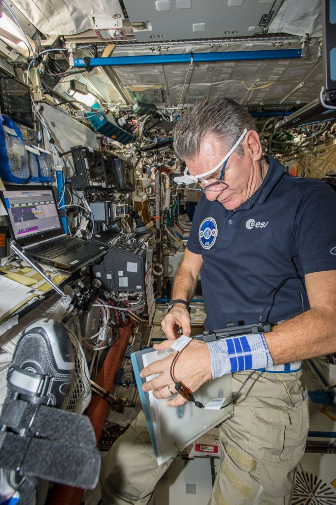 ESA astronaut Paolo Nespoli working with MobiPV. Image credit: ESA.