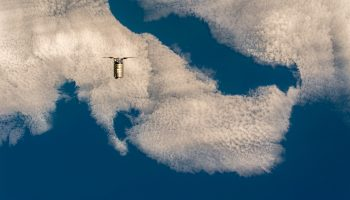 Cygnus spacecraft approaches the Station. Credits: ESA/NASA