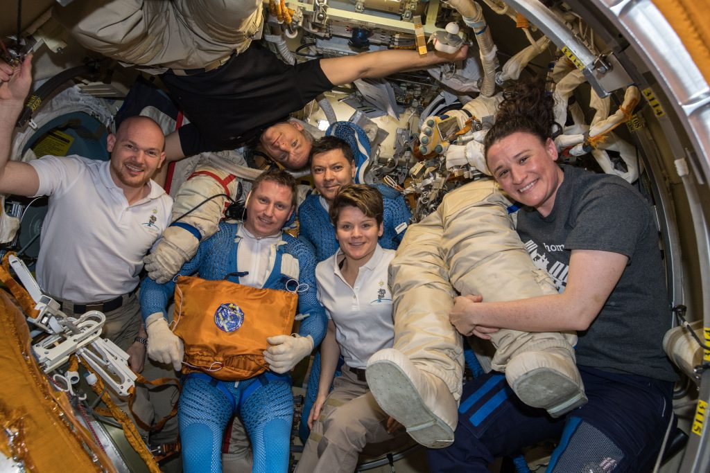 Space Station crew after spacewalk. Credits: ESA/NASA