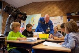 Opnames met het Jeugdjournaal voor Ruimteschip Aarde
