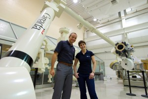 With Canadian colleague David Saint-Jacques and a real-size Canadarm2 mockup. Every boom is 7 meters long, but it's an amazingly light piece of hardware