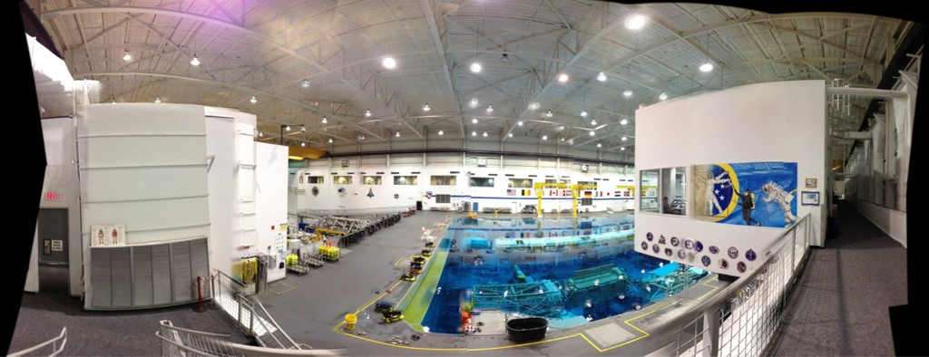 Part of the NBL. The control room is on the right sight and you can see the painting on the wall. (Photo courtesy of NASA astronaut Reid Wiseman)
