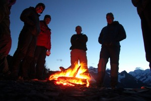 Camp Fire. Sunny afternoon even allowed us to make a campfire! Photo courtesy Ashley Wise, NOLS