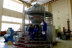 With my crewmates in front of Soyuz simulator