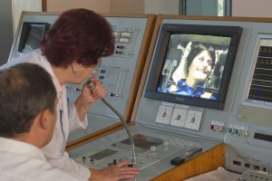 I'm all smiles… for the moment. Medical personnel monitors the run from a dedicated console.