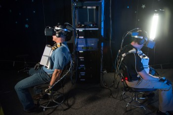 Colleague astronauts Reid Wiseman and Steve Swanson virtual reality training Credit: NASA