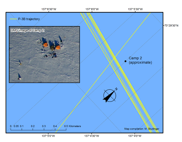 Trajectory map of the 10 passes over the ONR/CryoVex ice camp #2. (Michael Studinger/NASA)