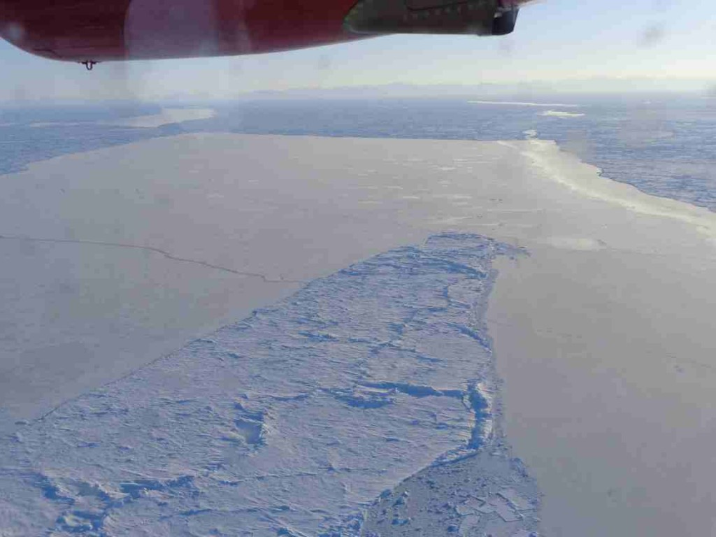 Worrying amounts of large leads (or fractures) in the pack ice. This one was probably opened by Thursday's violent storm. (Courtesy Mark Drinkwater, ESA)