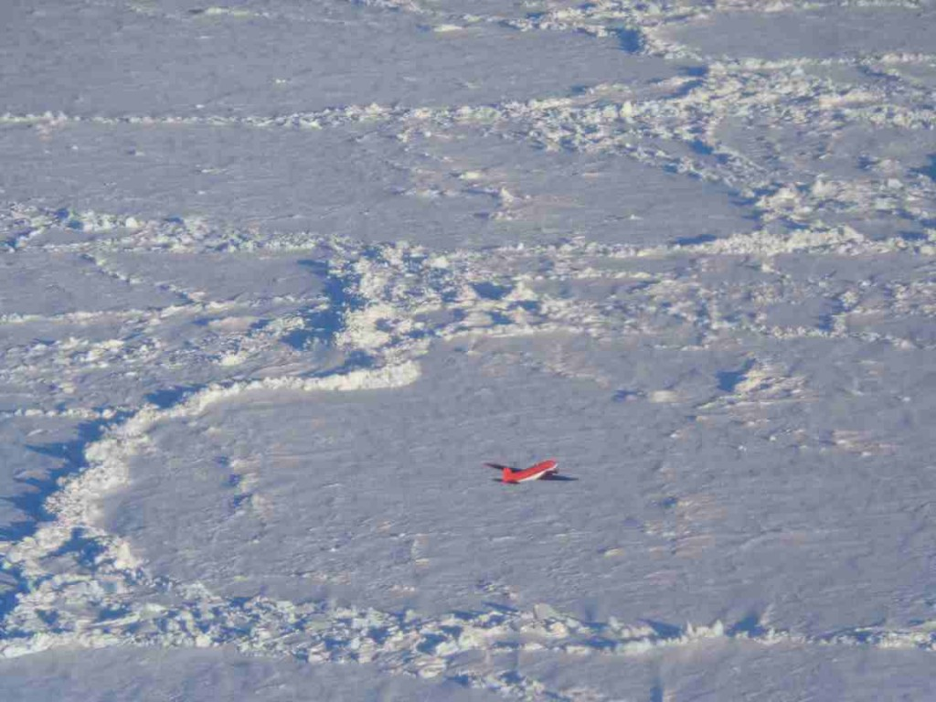 Basler mowing the lawn at our CryoVEx temporary Arctic home. (Courtesy Mark Drinkwater, ESA)