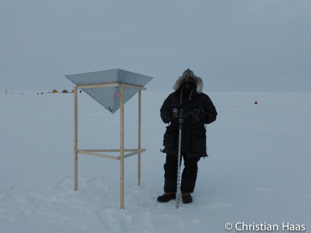 Measuring snow depth near the RADAR corner reflector in the 400m by 60m grid. (Christian Haas)
