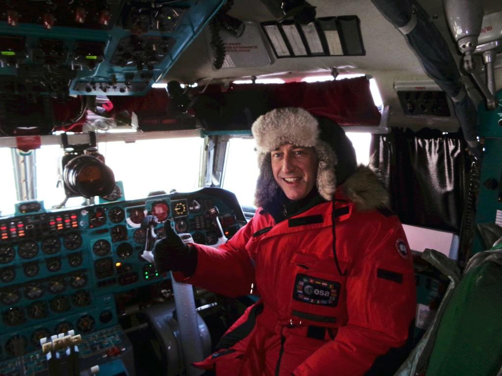 ESA's Mark Drinkwater in the Ilyushin cockpit. (Anne Bublitz–York University)