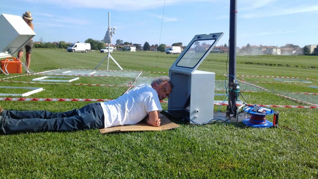 Franco Miglietta checking first results from ground-based tower. (ESA–Dirk Schüttemeyer)
