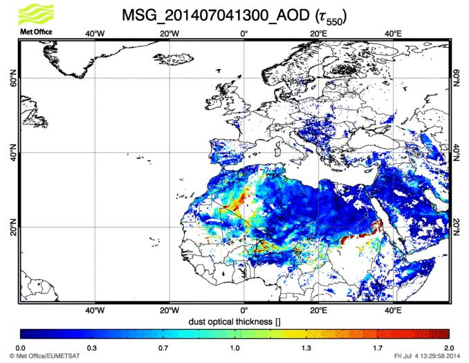 Satellite retrieval of dust optical depth at 550 nm (MSG/SEVIRI). AOD values above 1 are usually associated with dust production over desert sources (see for example the dust hot spots over Algerian desert and along the Sahel zone).