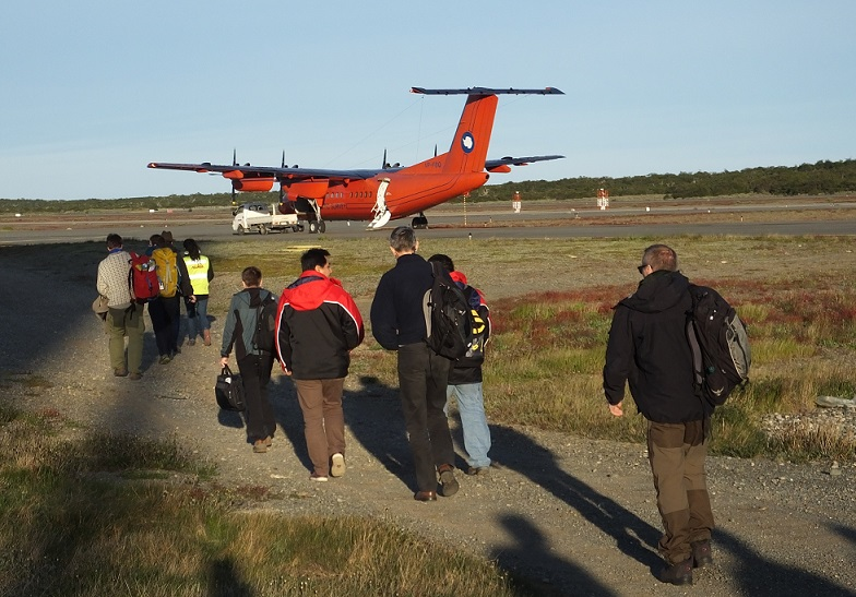 Scientists board the Dash 7 for the flight to Antarctica (PolarGAP)