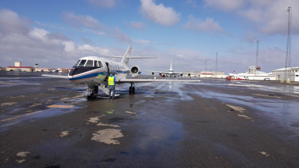 The DLR Falcon at Keflavik airfield in Iceland. (ESA)