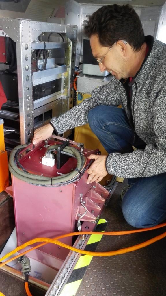 Oliver Reitebuch (DLR PI) preparing to take measurements. (ESA)