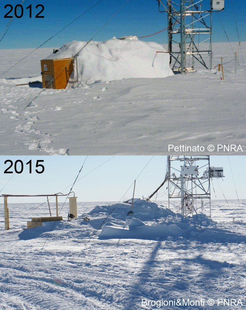 The shelter of the American tower as seen on 2012 and in 2015 completely buried by snow. (credits: M. Brogioni/F. Monti)