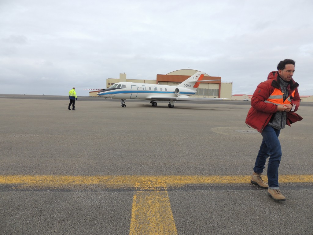 Falcon ready for the jet stream flight with Oliver Reitebuch facing adverse winds. (ESA)