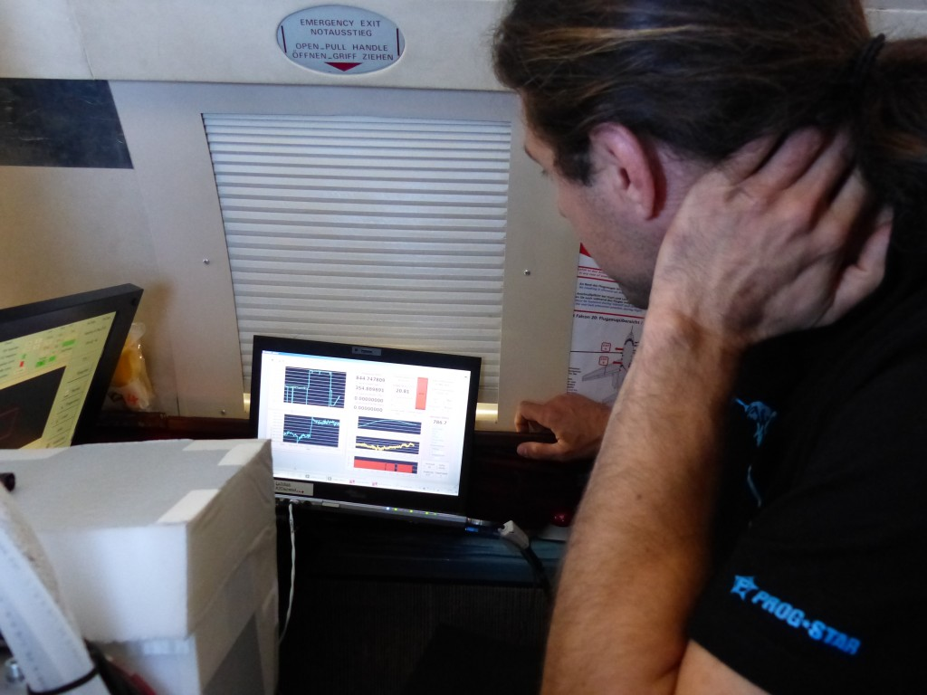 Christian Lemmerz from DLR checking the instrument before take off. (ESA)