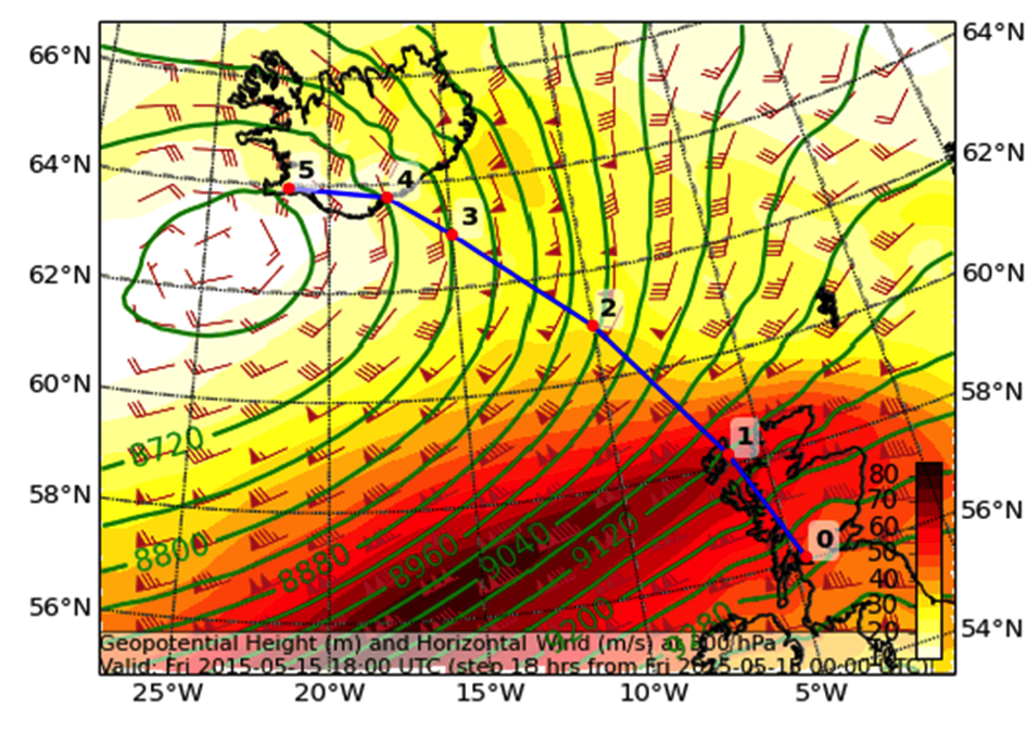 ECMWF forecast of the Geopotential Height (m) and Horizontal Winds (m/s) at 300 hPa (about 9 km altitude). The blue line indicates the planned Falcon Flight Track. Note the increased wind speeds over Scotland.