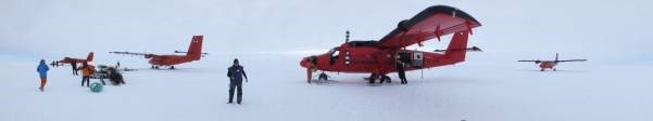 BAS Twin Otter fleet all on the ground at the Tango drilling camp