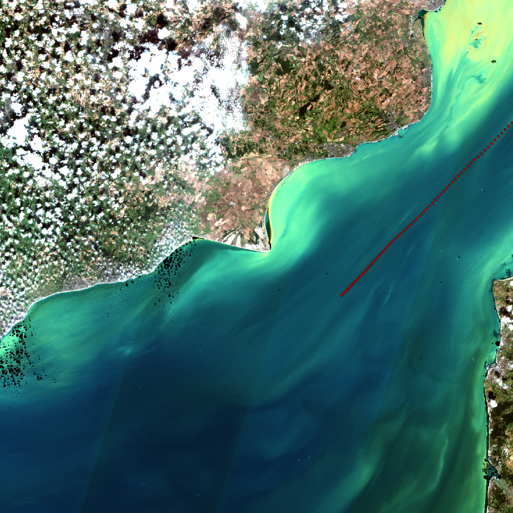 Southeast England and English Channel from Sentinel-2A overlaid with the AMT ship track. (Contains modified Copernicus Sentinel data, 2016)
