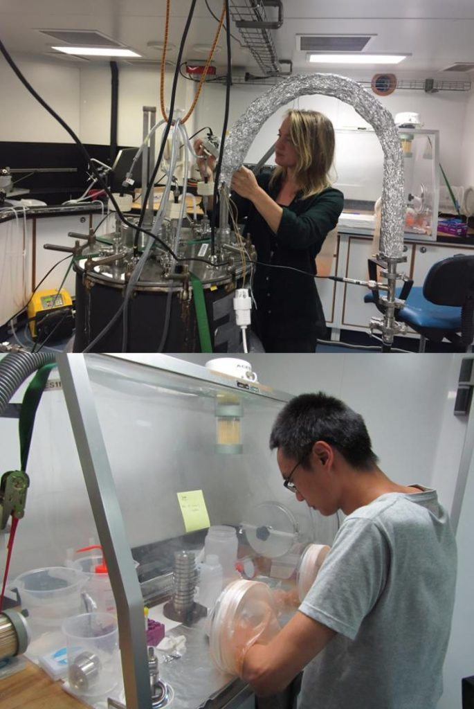 Jana Johansson and Bo Sha from the University of Stockholm, Sweden, generate sea spray from surface ocean water and analyse it for the persistent organic pollutant perfluoroalkyl acids. (PML)