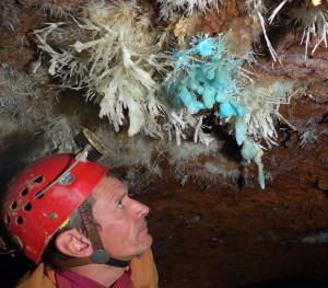 Studying the weird aragonite helictites in Asperge Cave, France. Credit: Mirjam Widmer.
