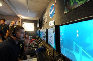 Jeremy Hansen at NEEMO 15 Mobile Mission Control Centre
