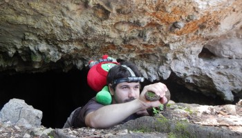 Alessandro Boesso emerging from Sardinian Grutta cave with Paxi Credit:ESA/L.Bessone