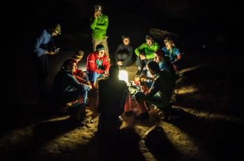 The CAVES2014 crew and support team celebrate Francesco's birthday. Credits: ESA-V. Crobu