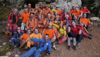 The one and only: CAVES 2014 team at the exit . Credits: ESA\S.Sechi